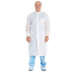 BASIC* Plus Lab Coat with Knit Collar and Cuffs