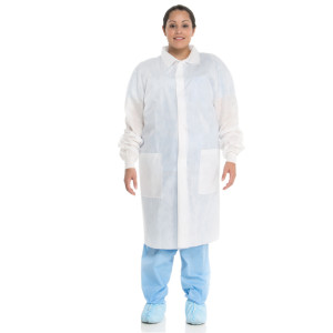 BASIC* Lab Coat with Traditional Collar and Knit Cuffs