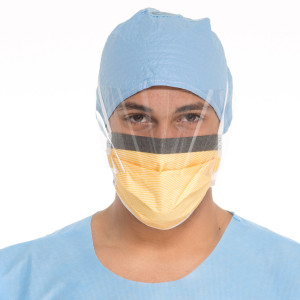 FLUIDSHIELD* Level 3 Fog-Free Surgical Mask with SO SOFT* Lining, Visor, Orange
